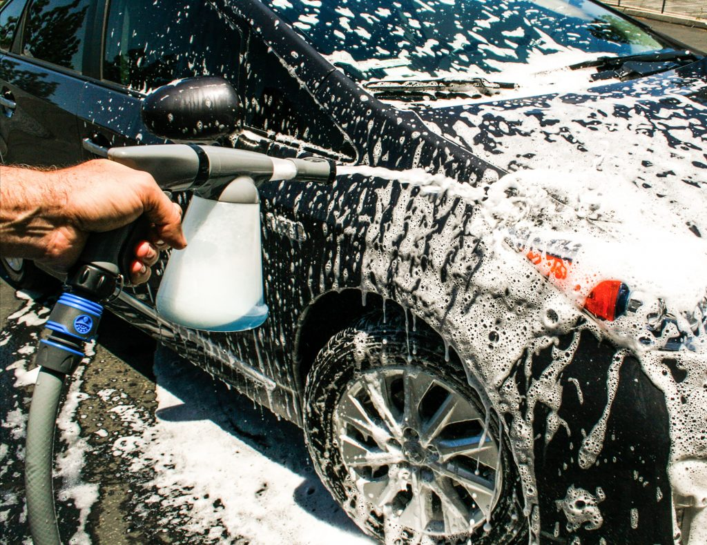 Car Spring Cleaning using a foam gun