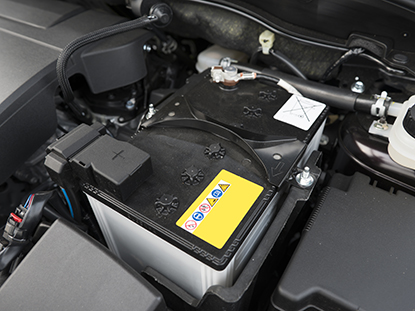 Car battery in the engine bay