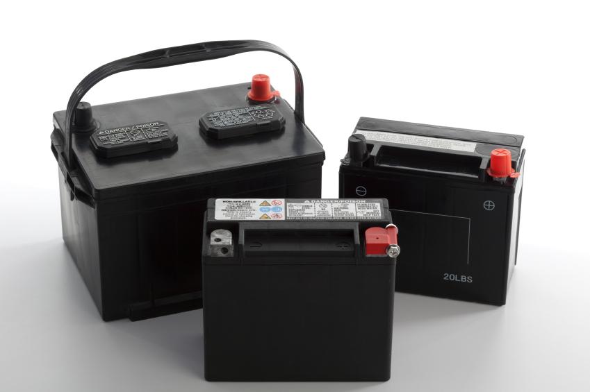Three different automotive batteries